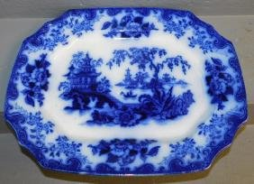 "19th C Ironstone flow blue platter. 18"" x 14""."