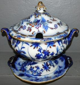 Flow blue 19th C English tureen with under plate