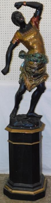 "19th C blackamoor figure on pedestal. 73"" tall."