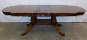 Shaped top inlaid rosewood single pedestal table