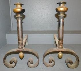 Pair of wrought iron and brass top andirons.