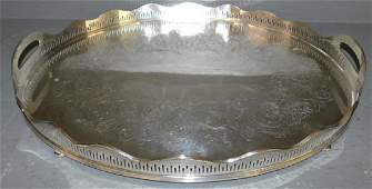 Silver-plate Eng Sheffield footed pierced gallery tray.