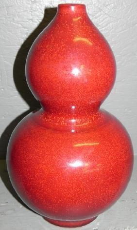 "Sang de bouef oriental gourd vase. 14"" tall."