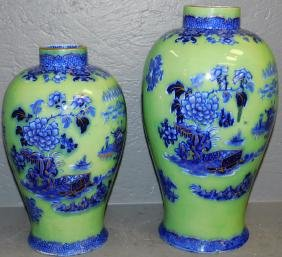 Two Chinese celadon and flow blue vases.