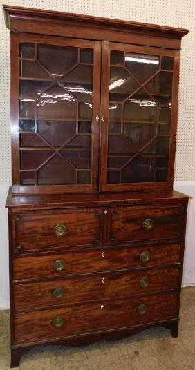 Inlaid glass front mahogany butlers desk secretary