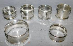 4 marked sterling and 2 coin silver napkin rings.
