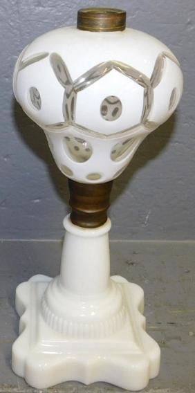 Early 19th century Bohemian and milk glass lamp.