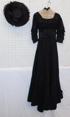 19th C Victorian black dress and hat.