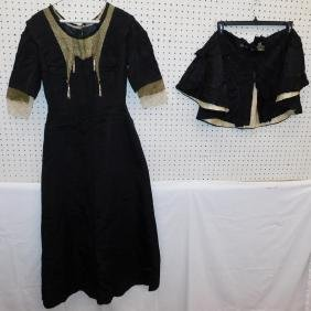 Victorian 2 piece beaded jet dress and shawl.