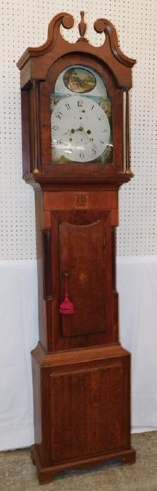 Bleach mahogany grandfather clock Painted dial