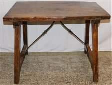 18th C Italian Iron stretcher base table.
