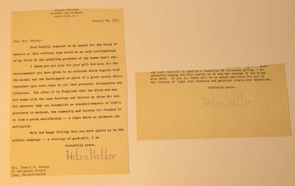 298: Helen Keller signed letter