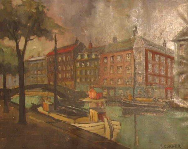 021: Svend Gunner Canal Scene Amsterdam