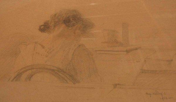 024: Belgian School Pencil Sketch Girl Drawing