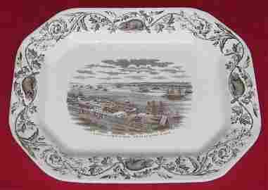 43: Thomas Quebec Harbor Earthenware Platter, c1880