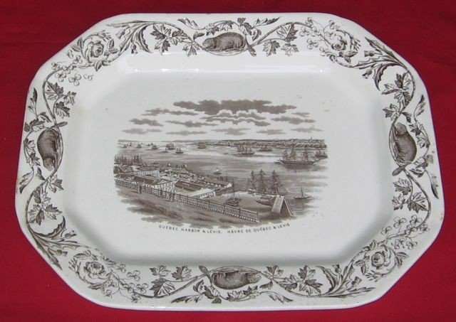 43: Thomas Quebec Harbor Earthenware Platter, c1880