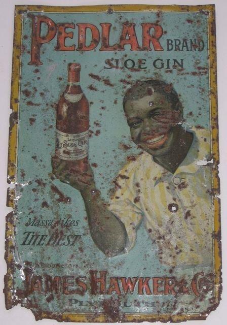 "1: ""Pedlar Brand Sloe Gin"" Die Cut Painted Tin Sign"