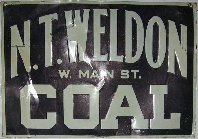 """3: """"N. T. Weldon Coal"""" Die cut painted tin sign"""