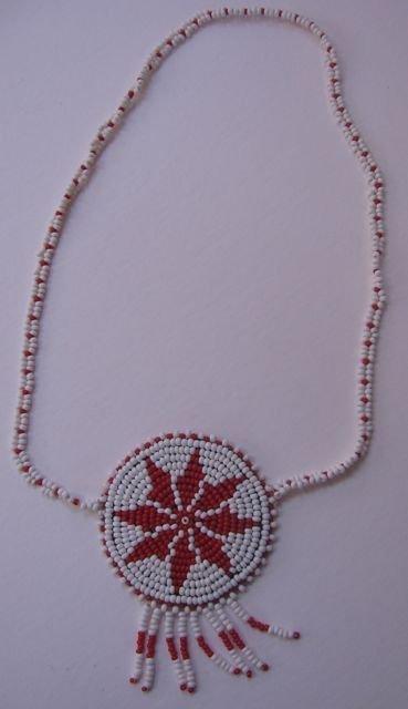 """12: """"Cherokee Star"""" Beaded Rosette Choker Necklace"""