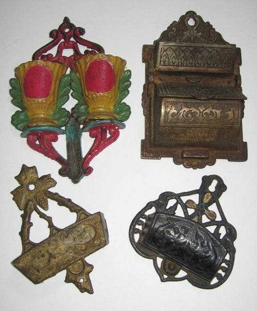15: Cast Iron Match Holders, Lot of 4