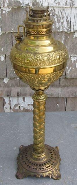 """18: Antique """"Miller"""" Pedestal Oil/Kerosene Lamp"""