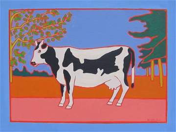 """170: """"PEI Cow One"""" Erica Rutherford Acrylic 1989"""