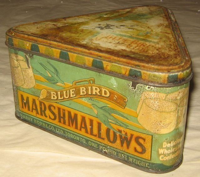 Horne Blue Bird Marshmallows Painted Tin