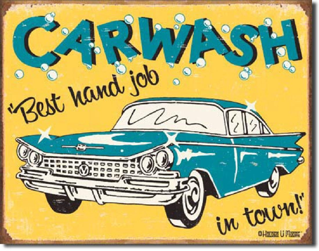 "CAR WASH FUNNY METAL SIGN 12.5"" X 16"""