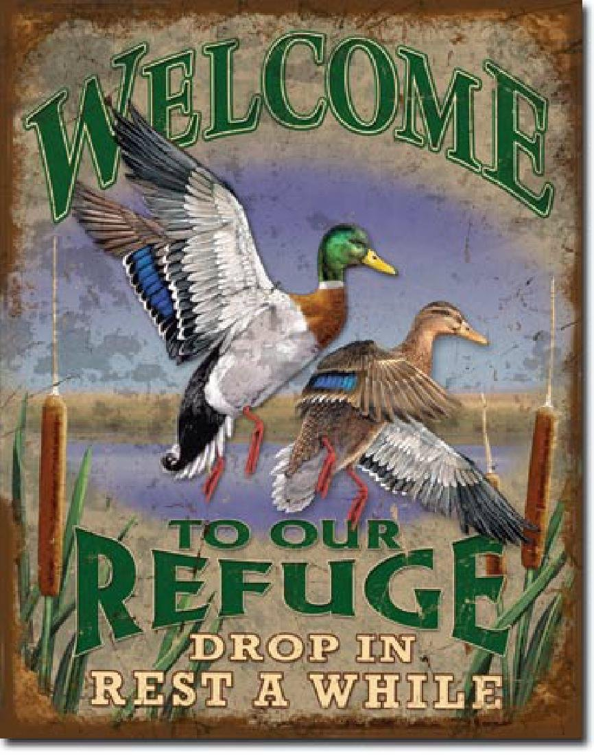 "WELCOME TO OUR REFUGE METAL SIGN 12.5"" X 16"""