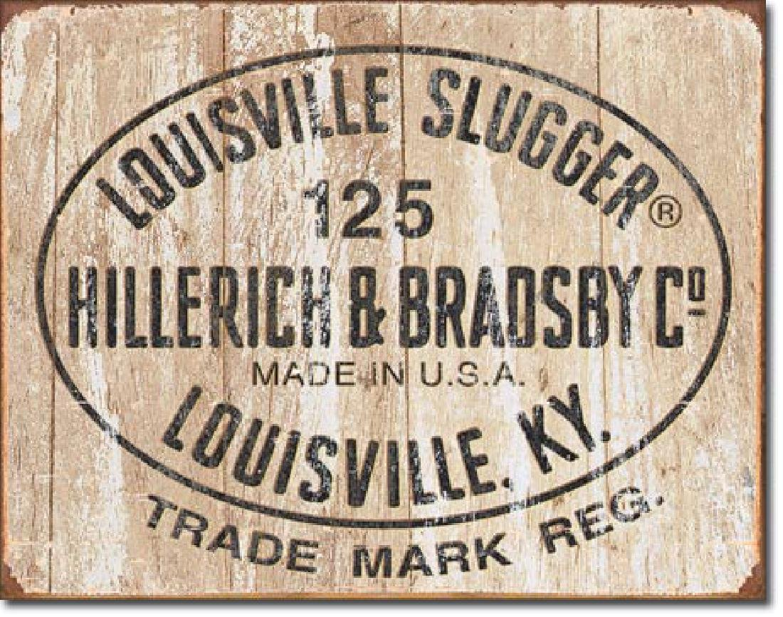 "LOUISVILLE SLUGGER METAL SIGN 12.5"" X 16"""
