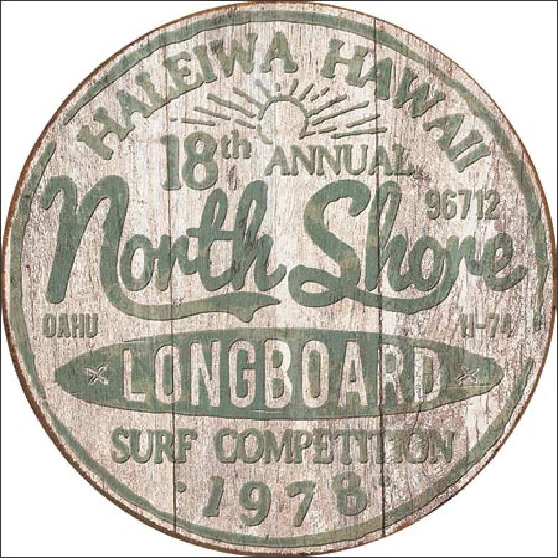 "NORTH SHORE LONGBOARD METAL SIGN 12.5"" X 16"""