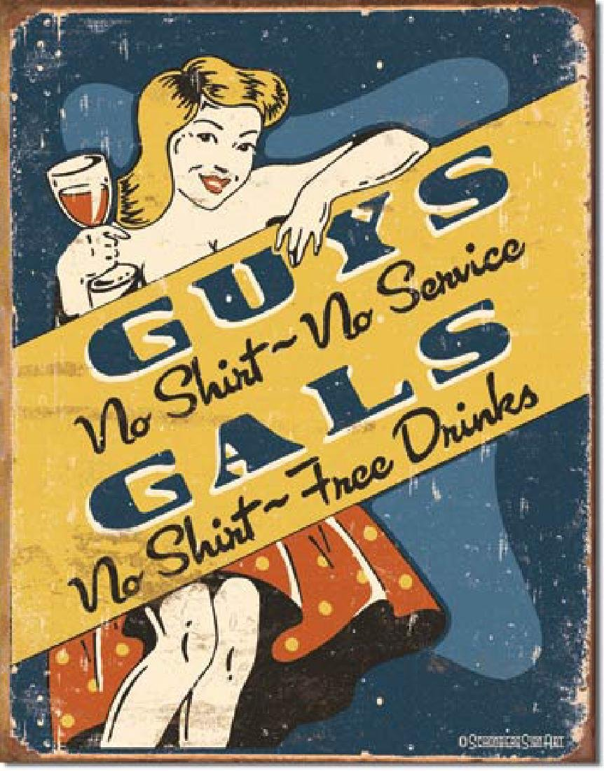 "GUYS GALS FUNNY METAL SIGN 12.5"" X 16"""