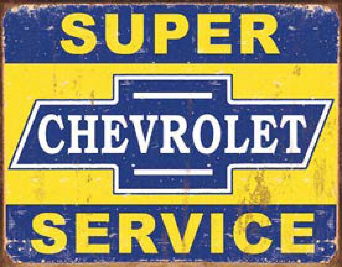 """SUPER CHEVROLET SERVICE METAL SIGN 12.5"""" X 16"""""""