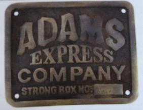 """ADAMS EXPRESS BRASS STRONG BOX PLAQUE - 4.5"""" X 3.5"""""""