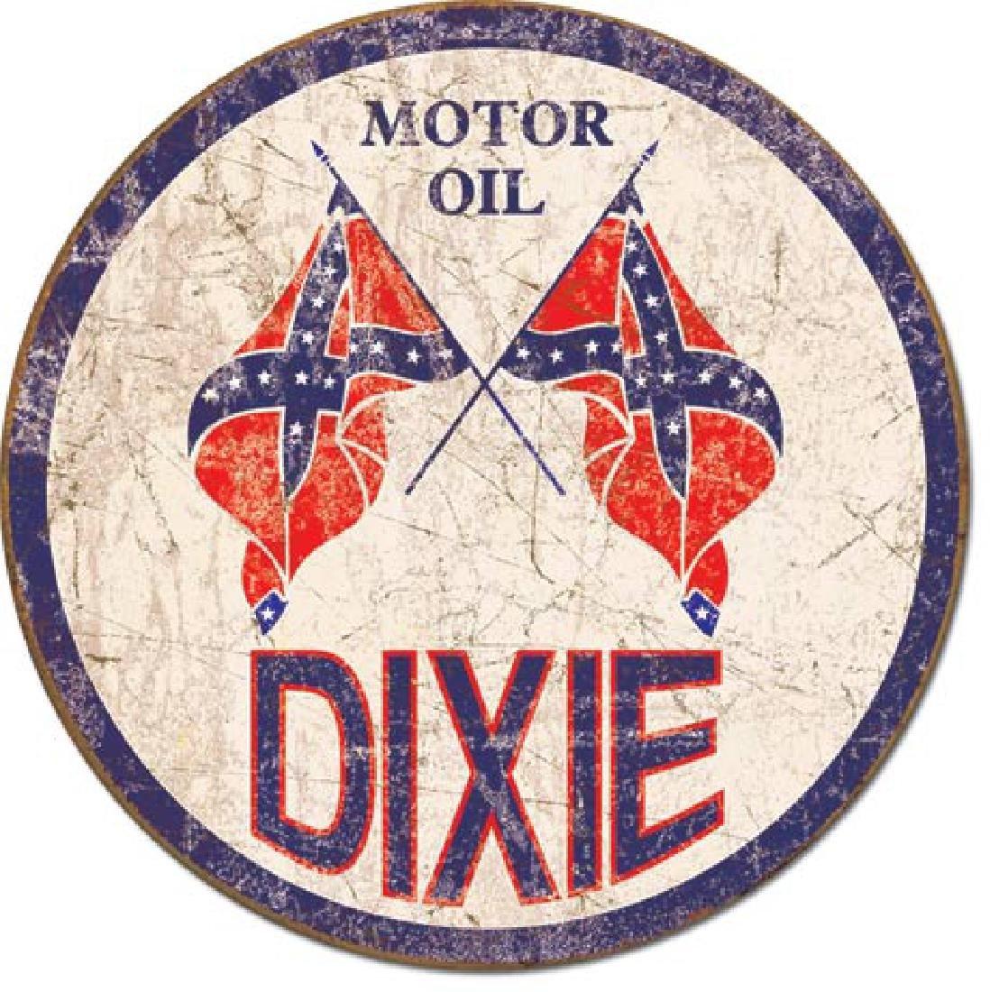 "DIXIE OIL METAL SIGN 12"" ROUND"