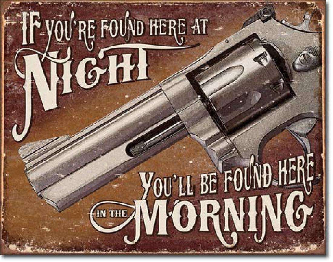 """FUNNY GUN METAL SIGN 12.5"""" X 16"""""""