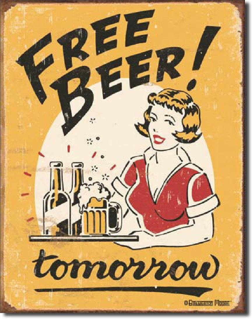 "FREE BEER METAL SIGN 12.5"" X 16"""