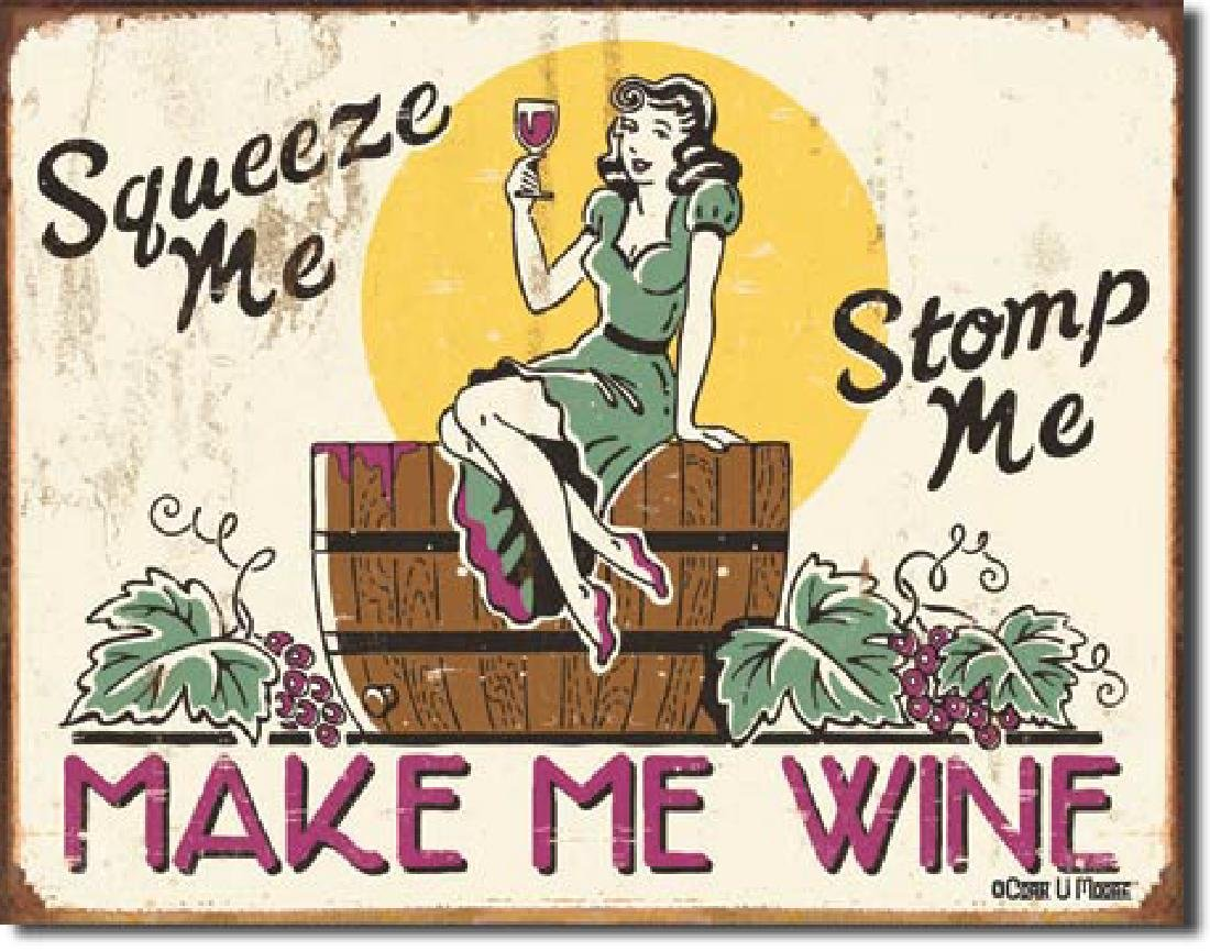 "WINE FUNNY METAL SIGN 12.5"" X 16"""