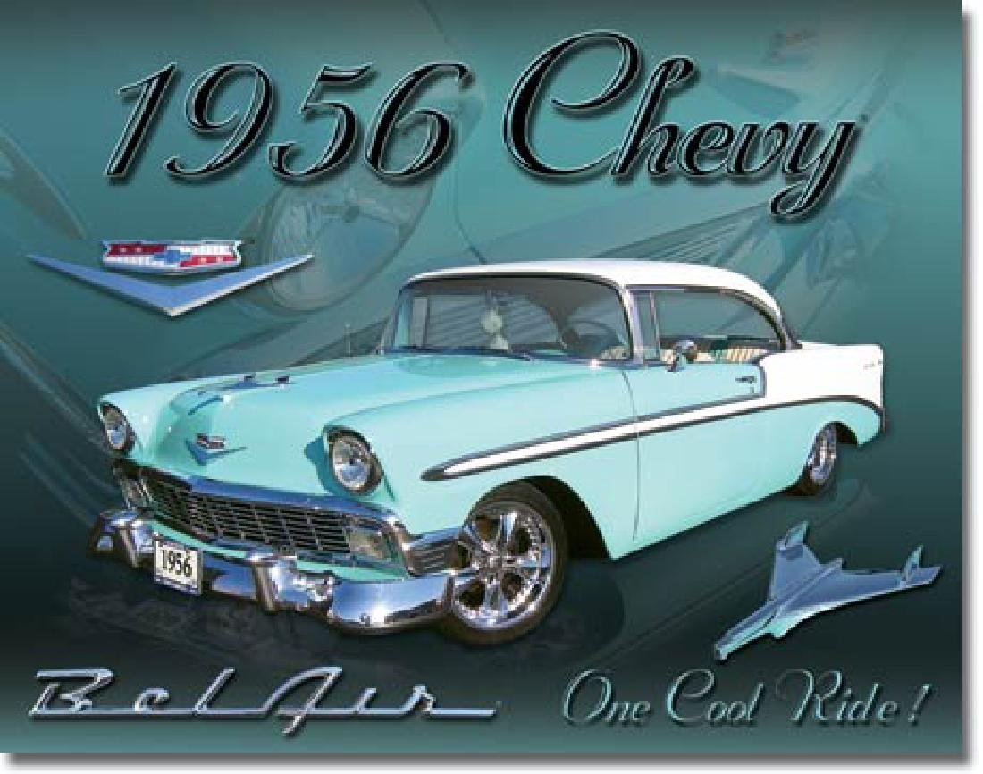"1956 CHEVY METAL SIGN 12.5"" X 16"""