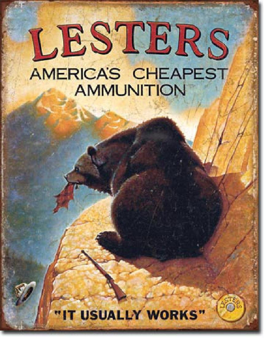 """LESTERS AMMUNITION FUNNY METAL SIGN 12.5"""" X 16"""""""