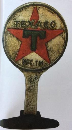 "TEXACO CAST IRON DOOR STOP SIGN - 9.5"" TALL"