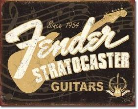 "FENDER STRATOCASTER METAL SIGN 12.5"" X 16"""