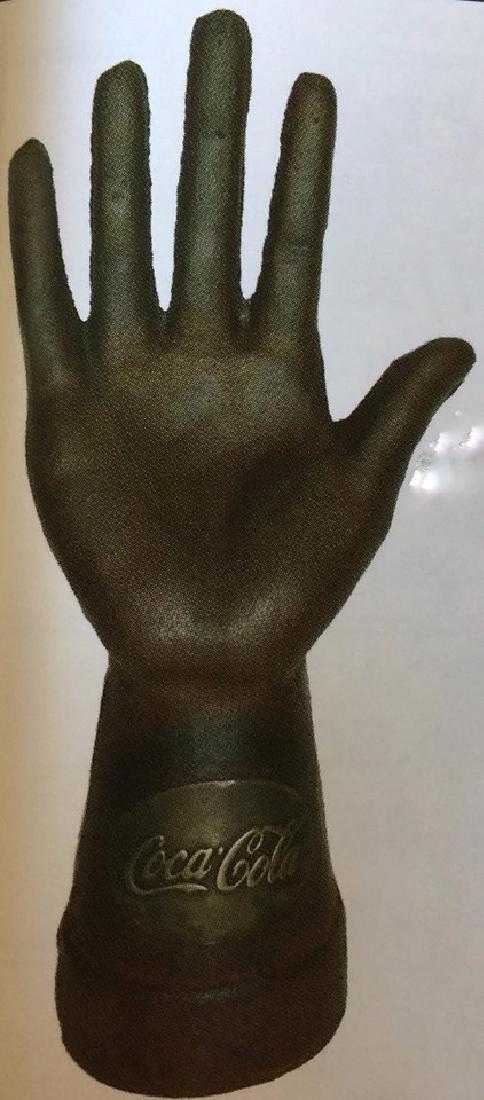 "COCA COLA COUNTER TOP CAST IRON HAND DISPLAY - 8.75"""