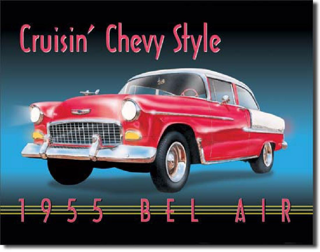 "1955 CHEVY BEL AIR METAL SIGN 12.5"" X 16"""