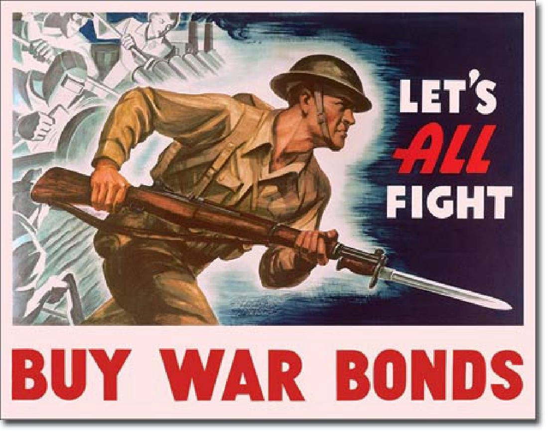 "BUY WAR BONDS METAL SIGN 12.5"" X 16"""