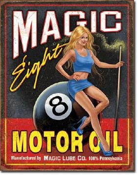 "MAGIC EIGHT BALL MOTOR OIL METAL SIGN 12.5"" X 16"""