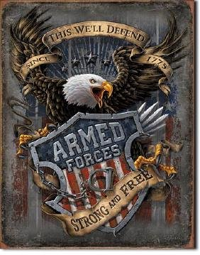 """ARMED FORCES METAL SIGN 12.5"""" X 16"""""""