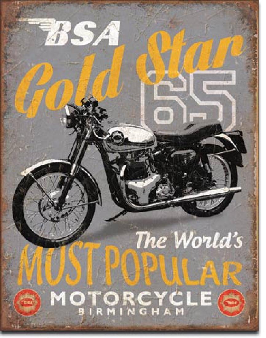 "BSA MOTORCYCLES METAL SIGN 12.5"" X 16"""