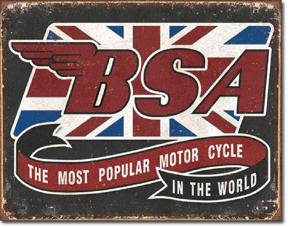 "BSA MOTORCYCLE METAL SIGN 12.5"" X 16"""