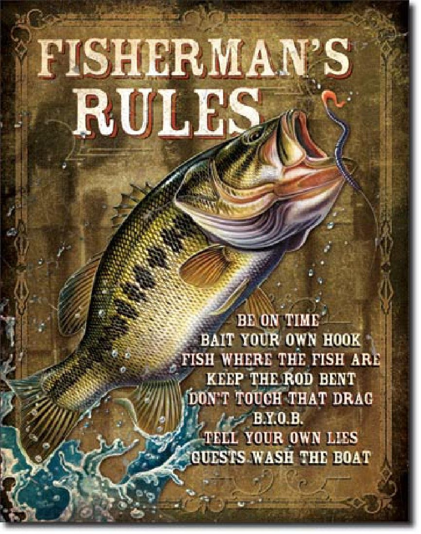 "FISHERMANS RULES METAL SIGN 12.5"" X 16"""